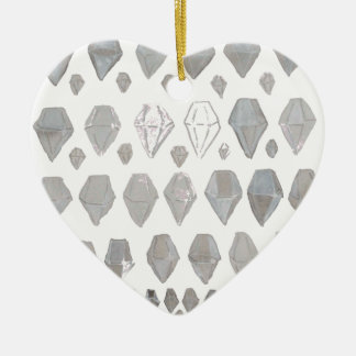 Shades of Grey Diamonds Abstract Art Design Ceramic Heart Decoration