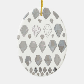 Shades of Grey Diamonds Abstract Art Design Ceramic Oval Decoration
