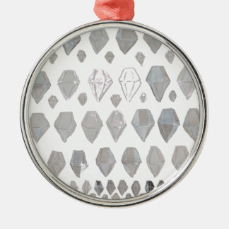 Shades of Grey Diamonds Abstract Art Design Silver-Colored Round Decoration