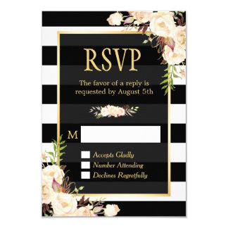 Shades of Ivory Floral Black White Stripes RSVP 9 Cm X 13 Cm Invitation Card
