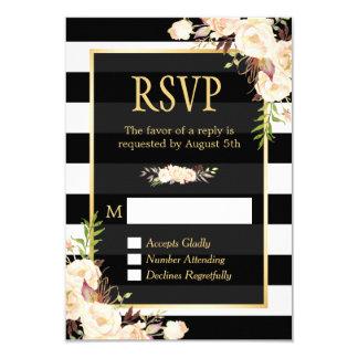 Shades of Ivory Floral Black White Stripes RSVP Card