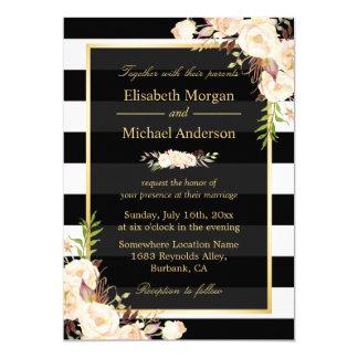 Shades of Ivory Floral Stripes Formal Wedding 13 Cm X 18 Cm Invitation Card
