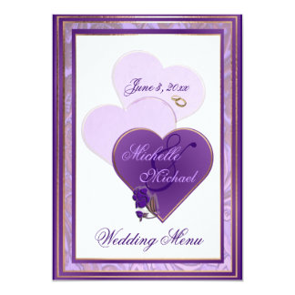 Shades of Lavender and Purple Lace Wedding Menu Card