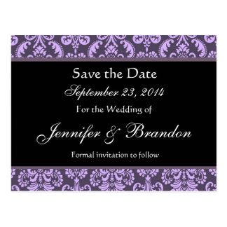 Shades of Lavender Damask Save The Date Postcard