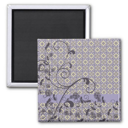 Shades of Lavender Floral Swirls Refrigerator Magnets
