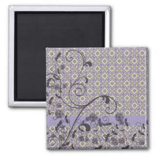Shades of Lavender Floral Swirls Square Magnet