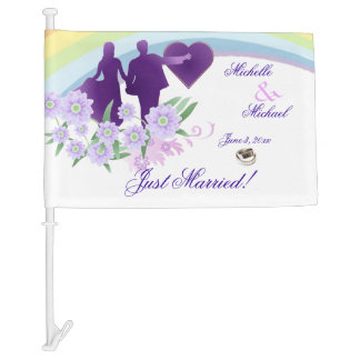 Shades of Lavender Just Married Car Flag