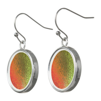 Shades of Orange and Green Abstract Drop Earrings