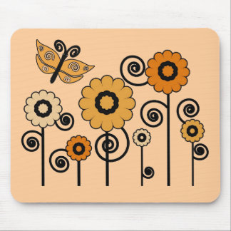Shades of orange art flowers & butterfly mousepad