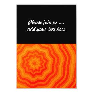 Shades of Orange Bright Striped Flower Design 13 Cm X 18 Cm Invitation Card