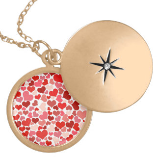 Shades of Pink and Red Hearts Background Personalized Necklace
