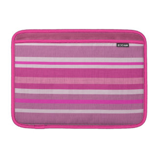 Shades of Pink and White Linen Look Striped Design MacBook Sleeve