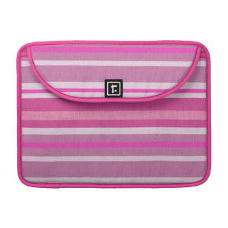 Shades of Pink and White Linen Look Striped Design Sleeve For MacBooks