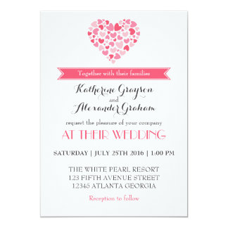 Shades of Pink Love Heart Wedding Invitation