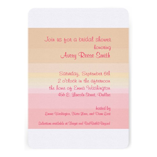 Shades of Pink Ombre Bridal Shower Invitation