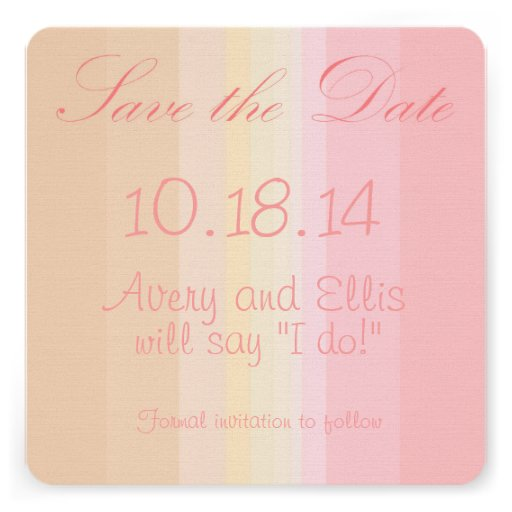 Shades of Pink Ombre Wedding Save the Date Invitation