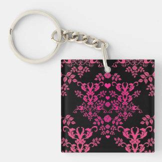 Shades of Pink over Black Vintage Style Damask Single-Sided Square Acrylic Key Ring