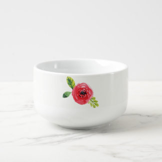 Shades of Pink Painted Flower | Soup Bowl Soup Mug