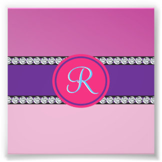 Shades of Pink Purple Mauve Monogram Initial Photographic Print