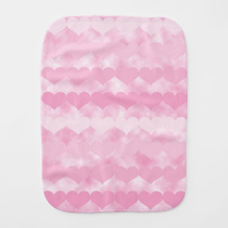 Shades of Pink Valentine Hearts Baby Burp Cloth