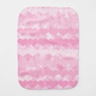 Shades of Pink Valentine Hearts Baby Burp Cloth