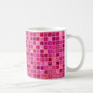 Shades Of Pink 'Watery' Mosaic Tile Pattern Basic White Mug