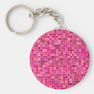 Shades Of Pink 'Watery' Mosaic Tile Pattern Key Ring