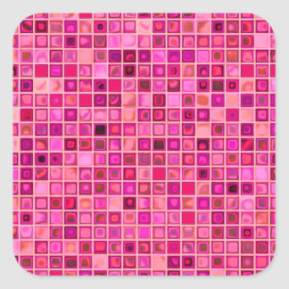 Shades Of Pink 'Watery' Mosaic Tile Pattern Square Sticker
