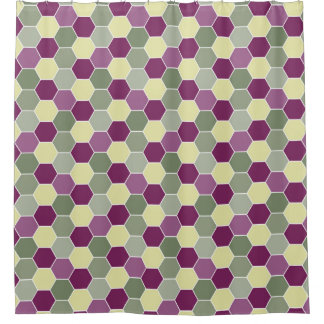 Shades of Purple and Green Honeycomb Pattern Shower Curtain