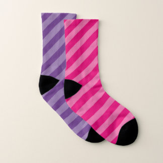 Shades of Purple and Pink Stripes Socks