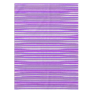 Shades of Purple and White Linen Look Stripes Tablecloth