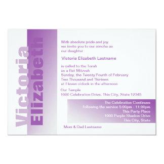 Shades of Purple Bat Mitzvah 13 Cm X 18 Cm Invitation Card