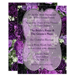 Shades of Purple Carnations Wedding Invitation