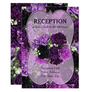 Shades of Purple Carnations Wedding Reception 9 Cm X 13 Cm Invitation Card