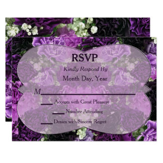 Shades of Purple Carnations Wedding RSVP 9 Cm X 13 Cm Invitation Card