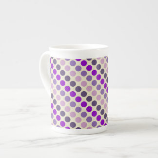 Shades Of Purple Polka Dots Bone China Mug