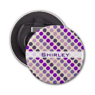 Shades of Purple Polka Dots by Shirley Taylor Bottle Opener
