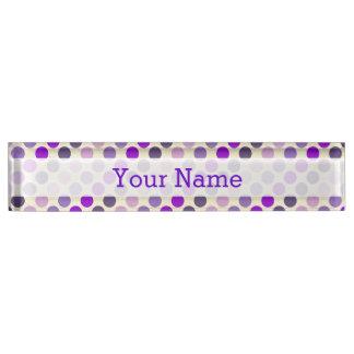 Shades Of Purple Polka Dots by Shirley Taylor Desk Name Plates