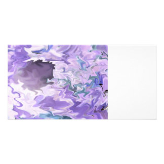 Shades of purple swirly jagged abstract design picture card