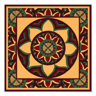 Shades of Red and Green Mandala with Border Photograph