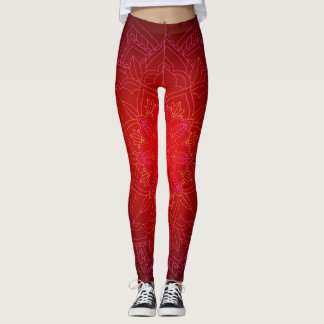 Shades of Red Kaleidoscope Print Leggings
