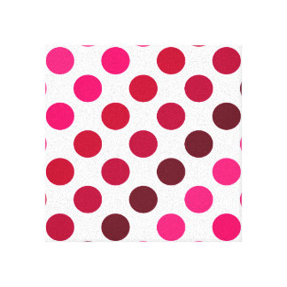 Shades of Red Polka Dot Stripes Gallery Wrap Canvas