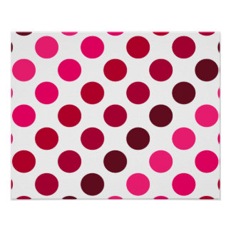 Shades of Red Polka Dot Stripes Poster