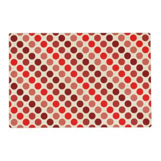 Shades Of Red Polka Dots Laminated Placemat
