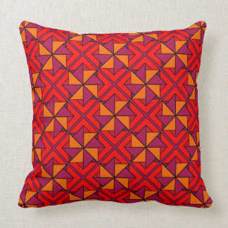 Shades of Red Windmill Patchwork Design Cushion