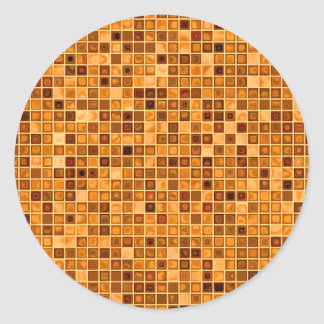 Shades Of Rust 'Watery' Mosaic Tile Pattern Classic Round Sticker