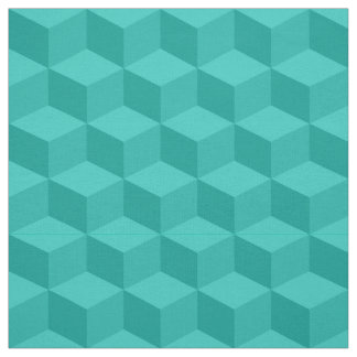 Shades of Teal 3D Look Cubes Pattern 20P Fabric