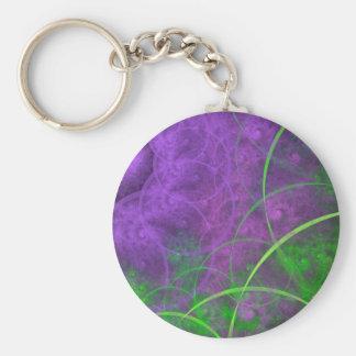 Shades of Toxic Waste Fractal Art Basic Round Button Key Ring