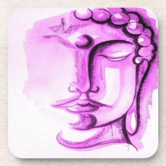 SHADES OF VIOLET BUDDHA Plastic Coasters Set of 6