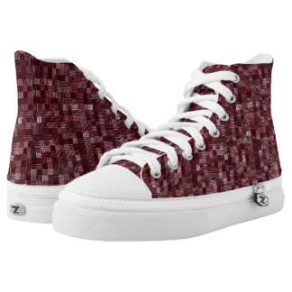 Shades Of Wine Red Printed Shoes